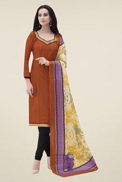 Ishin Brown & Black Printed Bhagalpuri Silk Dress Material