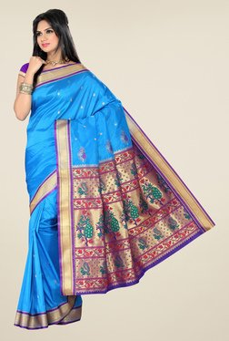 Ishin Blue Printed Paithani Tana Silk Saree