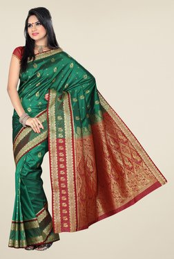 Ishin Green & Rust Printed Kanjeevaram Tana Silk Saree
