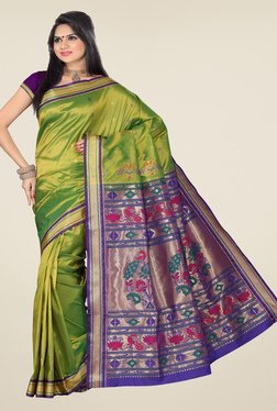 Ishin Green & Blue Printed Tana Silk Saree