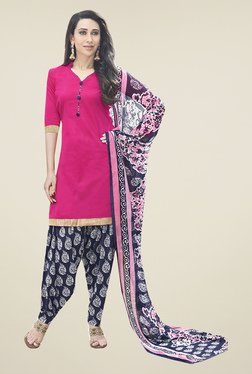 Ishin Pink & Navy Solid Cotton Dress Material
