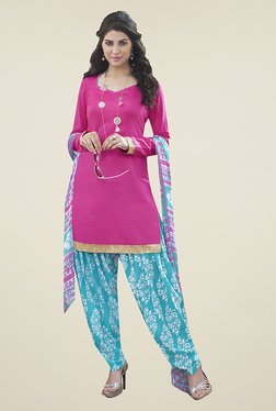 Ishin Pink & Blue Solid Cotton Dress Material