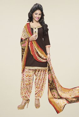 Ishin Brown & Beige Solid Cotton Dress Material