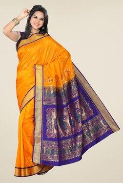 Ishin Orange & Blue Printed Tana Silk Saree