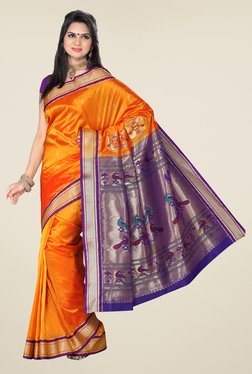 Ishin Orange & Blue Printed Paithani Tana Silk Saree