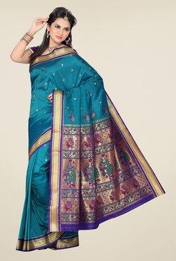 Ishin Teal Printed Paithani Tana Silk Saree