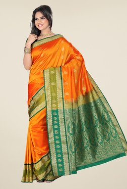 Ishin Orange & Green Printed Kanjeevaram Tana Silk Saree