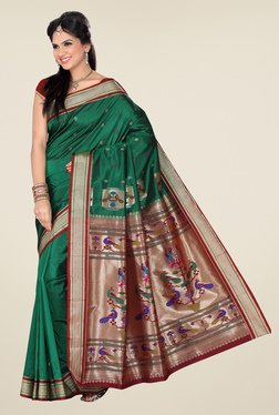 Ishin Green & Red Printed Paithani Tana Silk Saree
