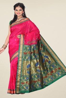 Ishin Pink & Green Printed Paithani Tana Silk Saree