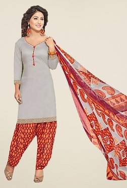 Ishin Grey & Orange Solid Cotton Dress Material