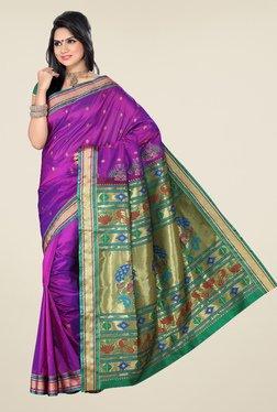 Ishin Violet & Green Printed Paithani Tana Silk Saree