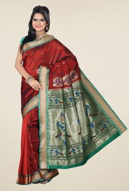 Ishin Maroon & Green Printed Paithani Tana Silk Saree