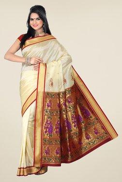 Ishin Off White & Maroon Printed Paithani Tana Silk Saree