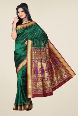 Ishin Green & Maroon Printed Paithani Tana Silk Saree