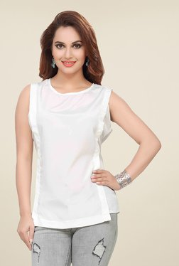 Ishin White Sleeveless Solid Top