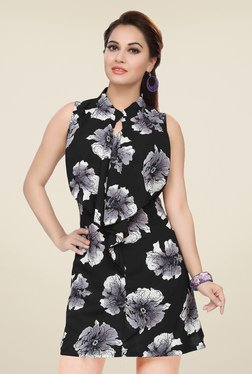 Ishin Black Sleeveless Printed Dress