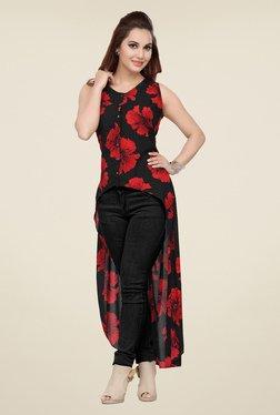 Ishin Black Printed Sleeveless Maxi Top