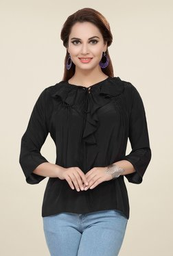 Ishin Black Full Sleeve Solid Top