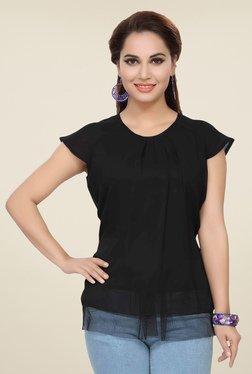 Ishin Black Cap Sleeve Solid Top
