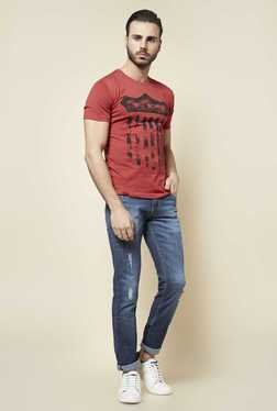 Zudio Red Crew Neck Slim Fit T Shirt
