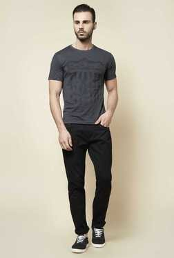 Zudio Grey Crew Neck Slim Fit T Shirt