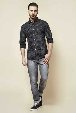 Zudio Black Printed Slim Fit Shirt