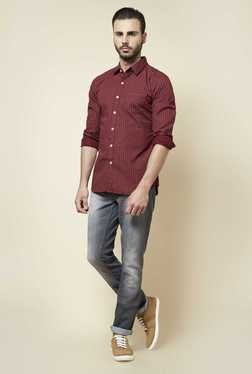 Zudio Maroon Printed Slim Fit Shirt