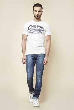 Zudio Off White Crew Neck Printed T Shirt