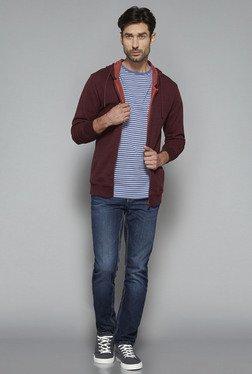 Westsport By Westside Maroon Textured Slim Fit Sweatshirt