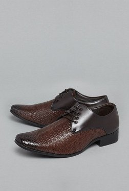 Azzurro by Westside Brown Textured Derby Shoes