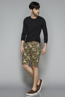 Nuon by Westside Olive Slim Fit Shorts