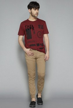 Nuon by Westside Maroon Slim Fit T Shirt