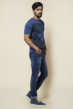 Zudio Indigo Pure Cotton Printed T Shirt