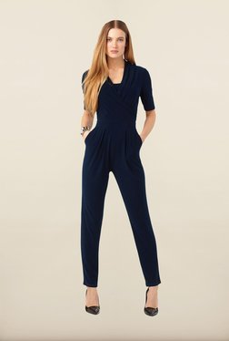 Phase Eight Navy Adele Wrap Front Slim Leg Jumpsuit