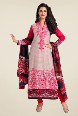 Salwar Studio Coral & Red Printed Dress Material