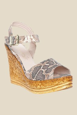 Catwalk Beige Ankle Strap Wedges