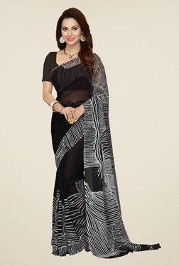 Ishin Black Printed French Crepe Saree