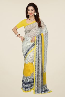 Ishin White & Yellow Printed French Crepe Saree