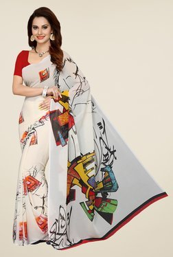 Ishin Off White Printed French Crepe Saree