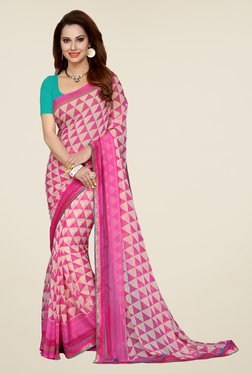 Ishin Pink & Beige Printed French Crepe Saree