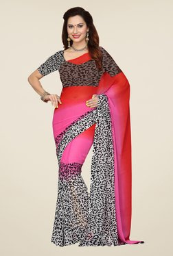 Ishin Multicolor Printed French Crepe Saree