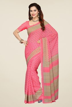 Ishin Pink Printed French Crepe Saree