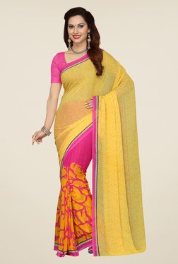 Ishin Yellow & Pink Printed French Crepe Saree