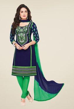 Salwar Studio Navy & Green Embroidered Dress Material