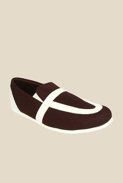 Series Brown & White Casual Slip-Ons