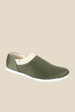 Series Green & Beige Casual Slip-Ons