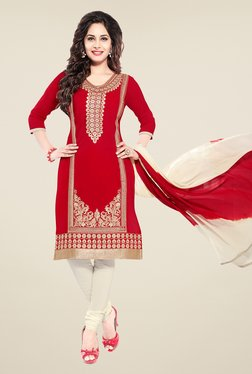 Salwar Studio Red & Off White Embroidered Dress Material