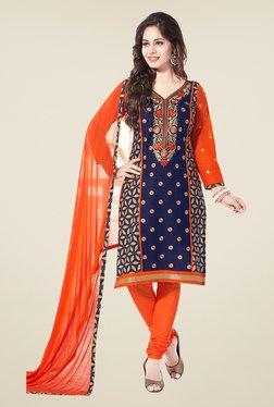Salwar Studio Navy & Orange Embroidered Dress Material