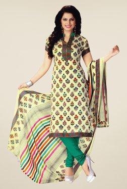 Salwar Studio Cream & Green Floral Print Dress Material