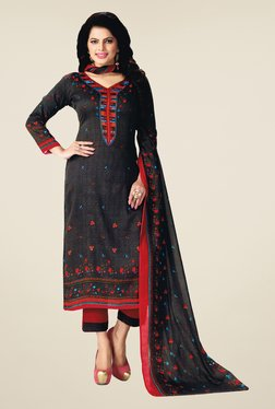 Salwar Studio Black & Red Floral Print Dress Material